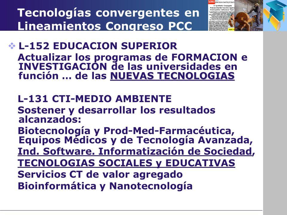 Tecnologías convergentes en Lineamientos Congreso PCC L-152 EDUCACION SUPERIOR NUEVAS TECNOLOGIAS Actualizar los programas de FORMACION e INVESTIGACION de las universidades en función … de las NUEVAS TECNOLOGIAS L-131 CTI-MEDIO AMBIENTE Sostener y desarrollar los resultados alcanzados: Biotecnología y Prod-Med-Farmacéutica, Equipos Médicos y de Tecnología Avanzada, Ind.