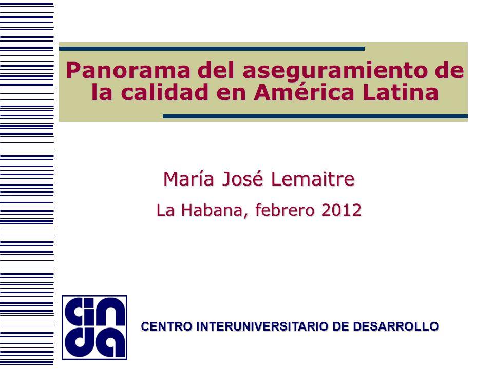 CENTRO INTERUNIVERSITARIO DE DESARROLLO Panorama del aseguramiento de la calidad en América Latina María José Lemaitre La Habana, febrero 2012