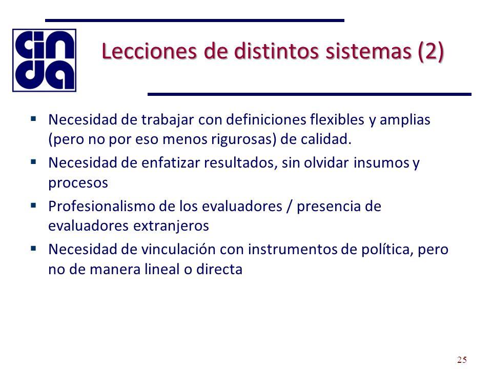 Lecciones de distintos sistemas (2) Necesidad de trabajar con definiciones flexibles y amplias (pero no por eso menos rigurosas) de calidad. Necesidad