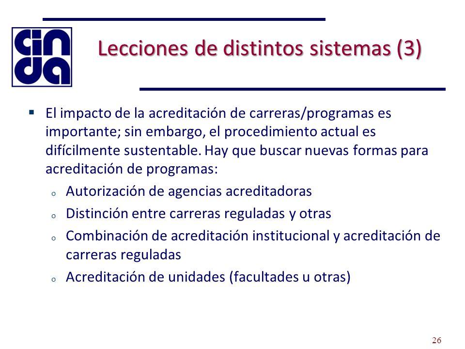 Lecciones de distintos sistemas (3) El impacto de la acreditación de carreras/programas es importante; sin embargo, el procedimiento actual es difícilmente sustentable.
