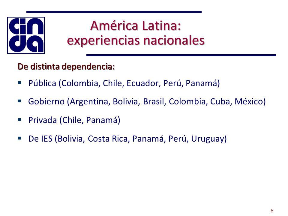 América Latina: experiencias nacionales De distinta dependencia: Pública (Colombia, Chile, Ecuador, Perú, Panamá) Gobierno (Argentina, Bolivia, Brasil