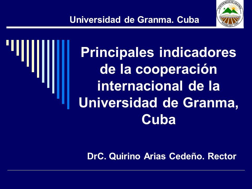 DrC. Quirino Arias Cedeño. Rector Universidad de Granma. Cuba Principales indicadores de la cooperación internacional de la Universidad de Granma, Cub