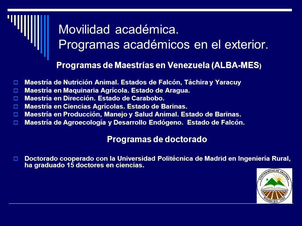 Movilidad académica. Programas académicos en el exterior. Programas de Maestrías en Venezuela (ALBA-MES ) Maestría de Nutrición Animal. Estados de Fal