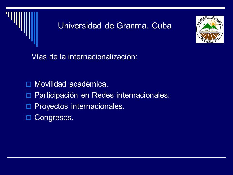 Vías de la internacionalización: Movilidad académica. Participación en Redes internacionales. Proyectos internacionales. Congresos. Universidad de Gra
