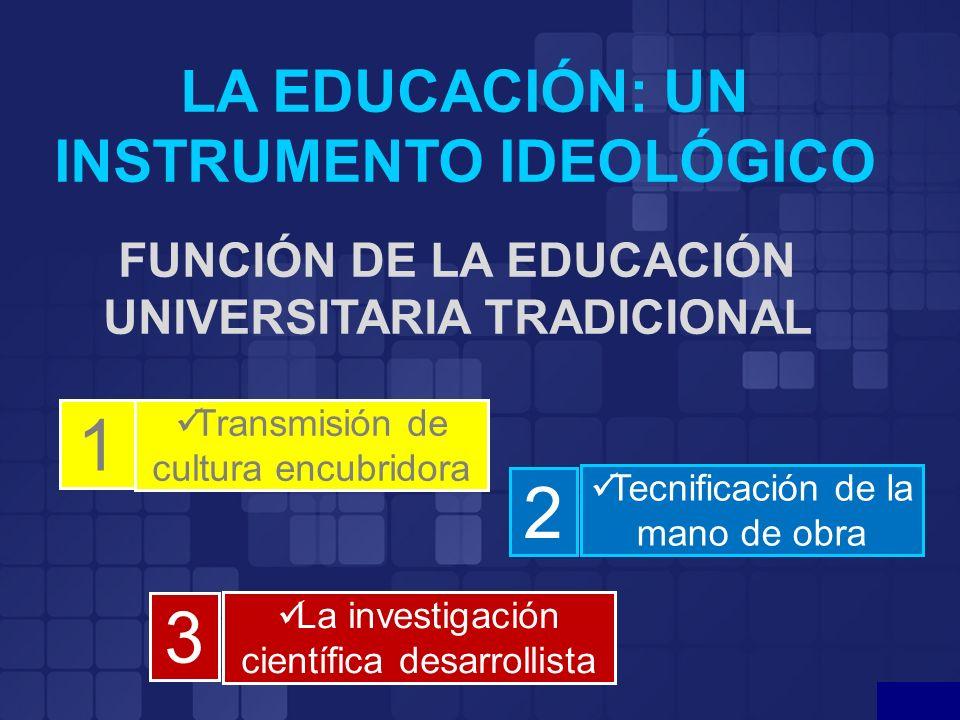 LA EDUCACIÓN: UN INSTRUMENTO IDEOLÓGICO FUNCIÓN DE LA EDUCACIÓN UNIVERSITARIA TRADICIONAL Transmisión de cultura encubridora Tecnificación de la mano