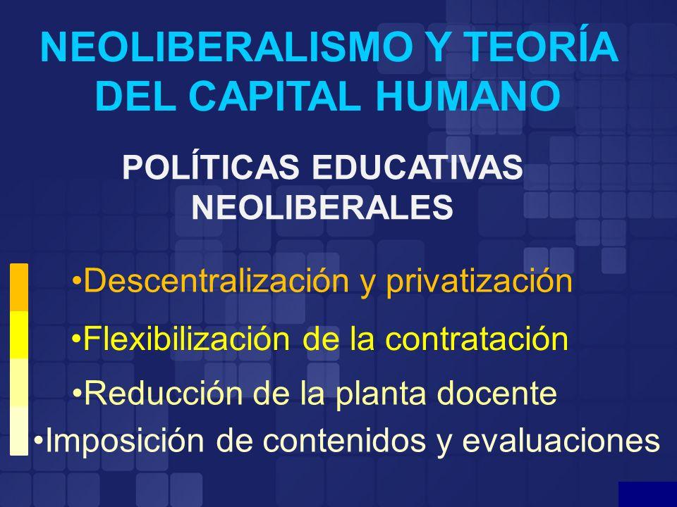 NEOLIBERALISMO Y TEORÍA DEL CAPITAL HUMANO POLÍTICAS EDUCATIVAS NEOLIBERALES Descentralización y privatización Flexibilización de la contratación Redu