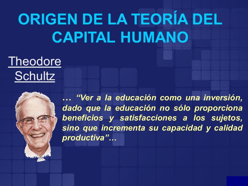 ORIGEN DE LA TEORÍA DEL CAPITAL HUMANO Theodore Schultz … Ver a la educación como una inversión, dado que la educación no sólo proporciona beneficios