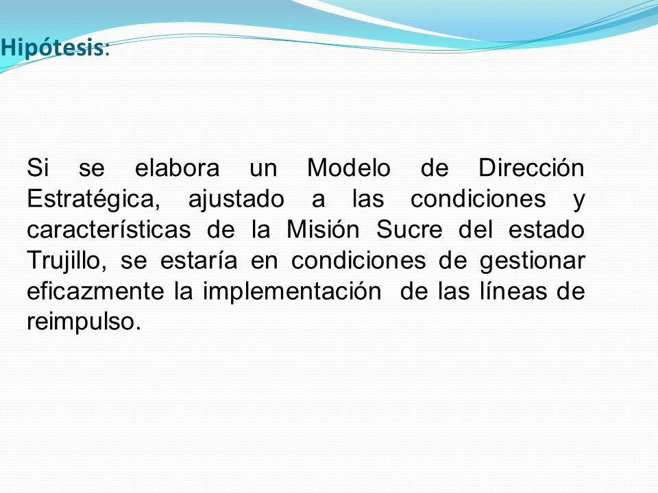 Hipótesis: Si se elabora un Modelo de Dirección Estratégica, ajustado a las condiciones y características de la Misión Sucre del estado Trujillo, se e