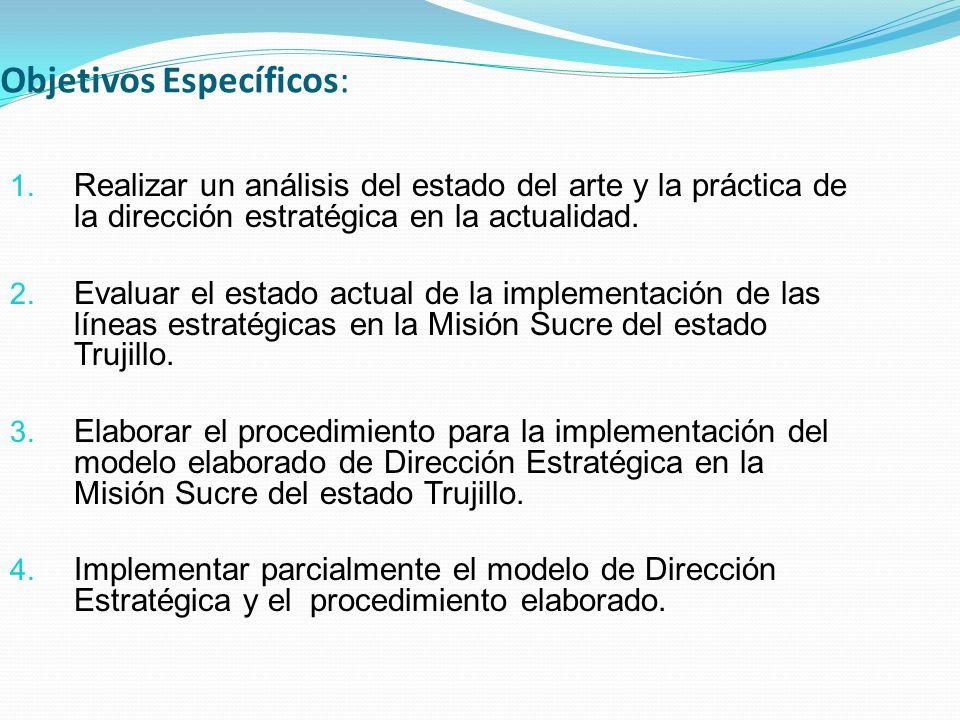 Objetivos Específicos: 1. Realizar un análisis del estado del arte y la práctica de la dirección estratégica en la actualidad. 2. Evaluar el estado ac