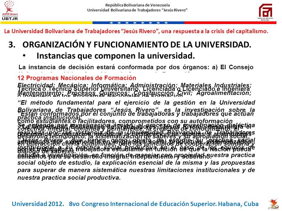 3.ORGANIZACIÓN Y FUNCIONAMIENTO DE LA UNIVERSIDAD. Instancias que componen la universidad. Programas que ofrece la Universidad. Títulos que otorga la