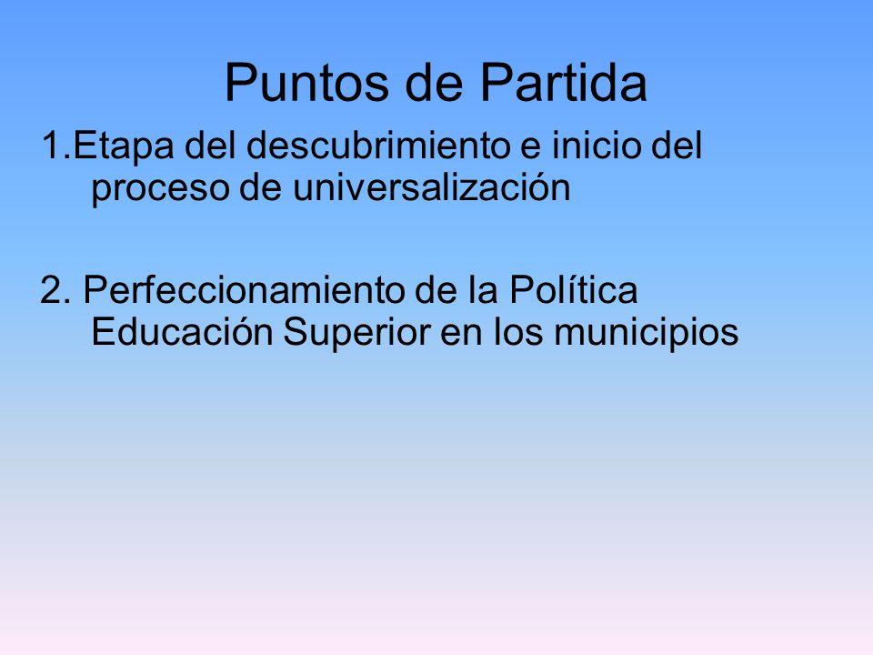 Puntos de Partida 1.Etapa del descubrimiento e inicio del proceso de universalización 2.