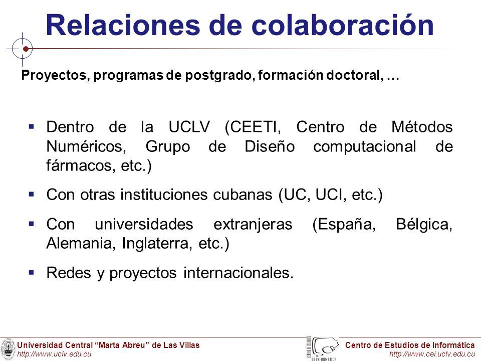Universidad Central Marta Abreu de Las Villas http://www.uclv.edu.cu Centro de Estudios de Informática http://www.cei.uclv.edu.cu Relaciones de colabo