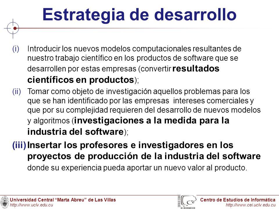 Universidad Central Marta Abreu de Las Villas http://www.uclv.edu.cu Centro de Estudios de Informática http://www.cei.uclv.edu.cu Estrategia de desarr