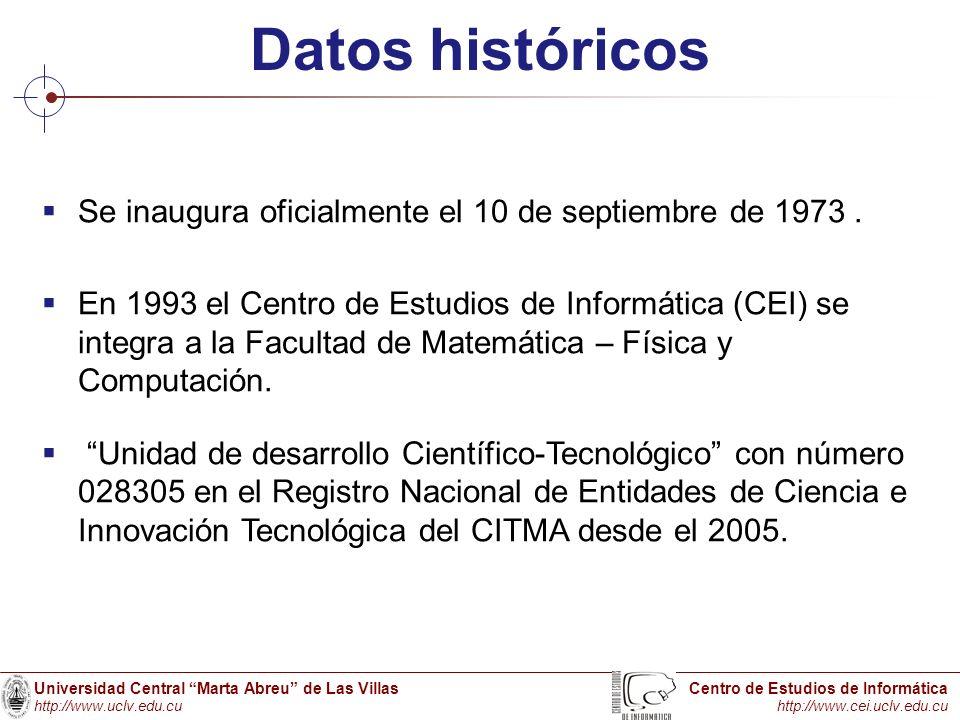 Universidad Central Marta Abreu de Las Villas http://www.uclv.edu.cu Centro de Estudios de Informática http://www.cei.uclv.edu.cu Datos históricos Se