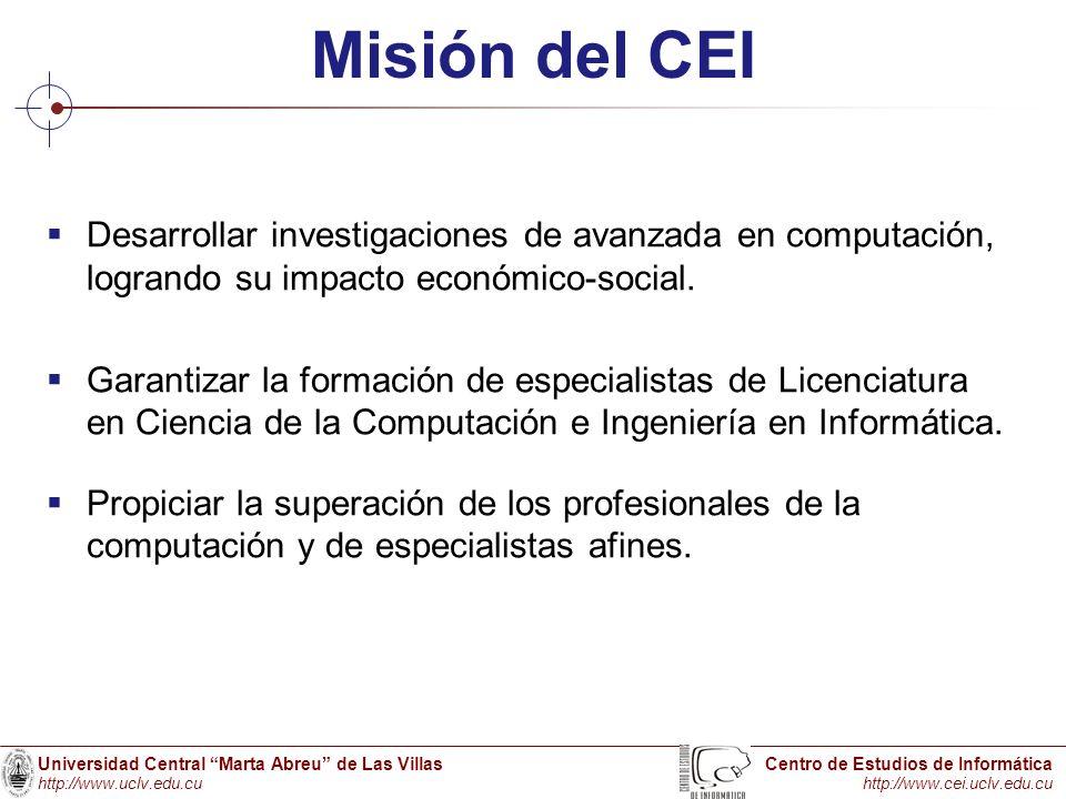 Universidad Central Marta Abreu de Las Villas http://www.uclv.edu.cu Centro de Estudios de Informática http://www.cei.uclv.edu.cu Misión del CEI Desar