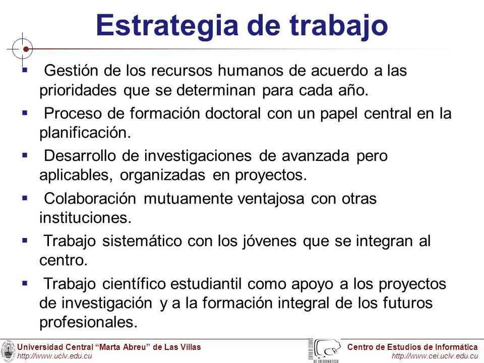 Universidad Central Marta Abreu de Las Villas http://www.uclv.edu.cu Centro de Estudios de Informática http://www.cei.uclv.edu.cu Estrategia de trabaj