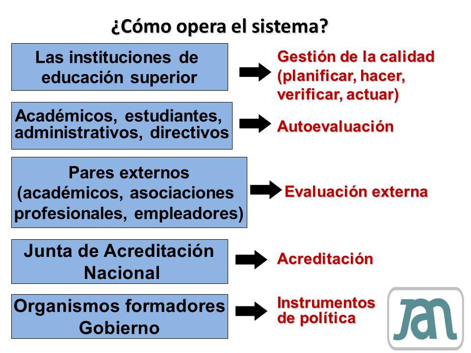 ¿Cómo opera el sistema? Las instituciones de educación superior Académicos, estudiantes, administrativos, directivos Pares externos (académicos, asoci