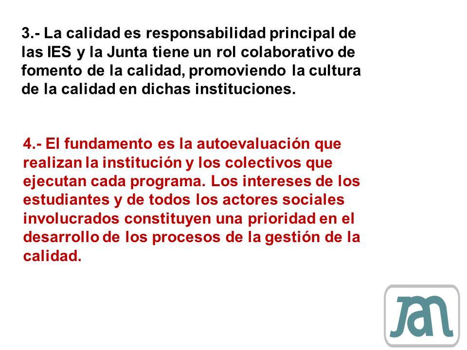 4.- El fundamento es la autoevaluación que realizan la institución y los colectivos que ejecutan cada programa. Los intereses de los estudiantes y de