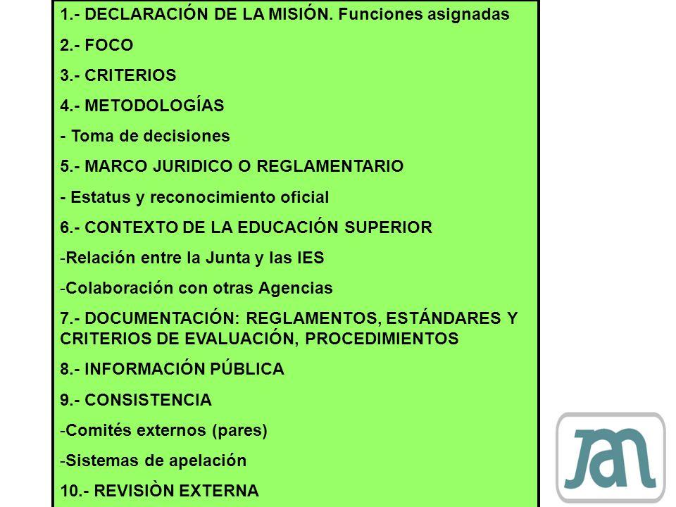 1.- DECLARACIÓN DE LA MISIÓN. Funciones asignadas 2.- FOCO 3.- CRITERIOS 4.- METODOLOGÍAS - Toma de decisiones 5.- MARCO JURIDICO O REGLAMENTARIO - Es