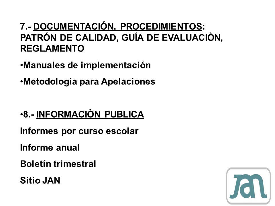 7.- DOCUMENTACIÓN, PROCEDIMIENTOS: PATRÓN DE CALIDAD, GUÍA DE EVALUACIÒN, REGLAMENTO Manuales de implementación Metodología para Apelaciones 8.- INFOR