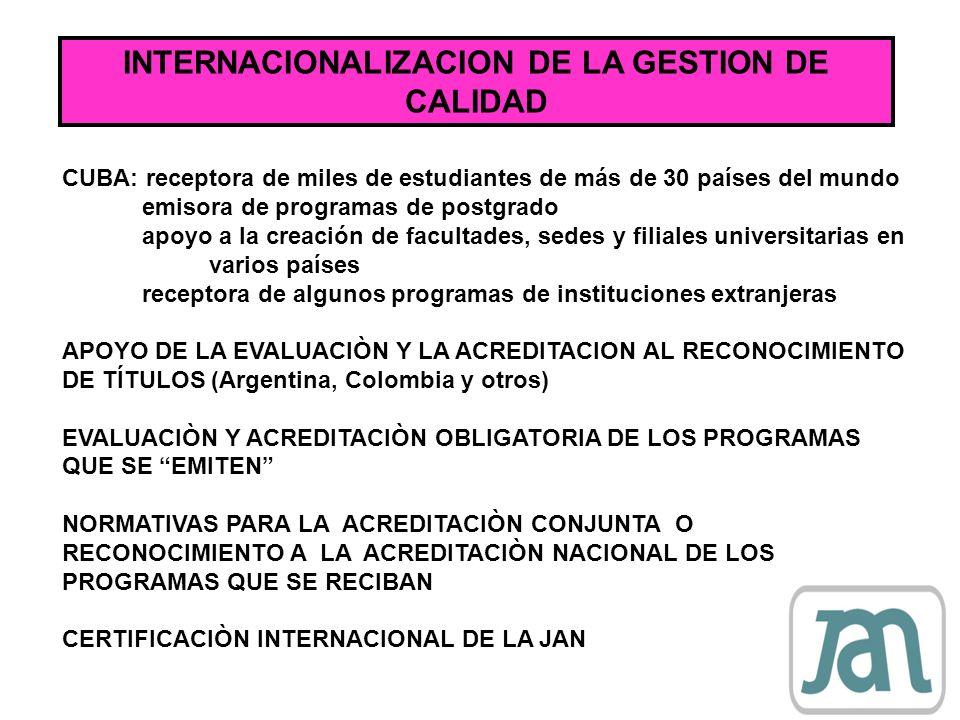 INTERNACIONALIZACION DE LA GESTION DE CALIDAD CUBA: receptora de miles de estudiantes de más de 30 países del mundo emisora de programas de postgrado