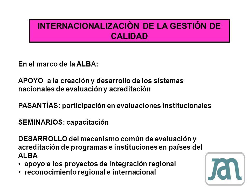 INTERNACIONALIZACIÒN DE LA GESTIÓN DE CALIDAD En el marco de la ALBA: APOYO a la creación y desarrollo de los sistemas nacionales de evaluación y acre