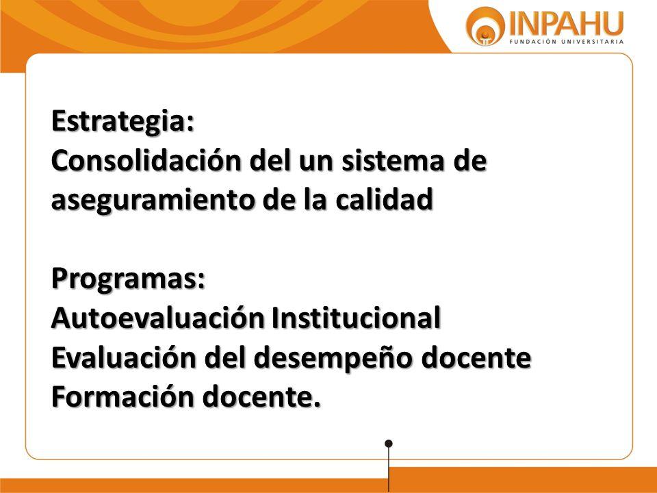 Estrategia: Consolidación del un sistema de aseguramiento de la calidad Programas: Autoevaluación Institucional Evaluación del desempeño docente Forma