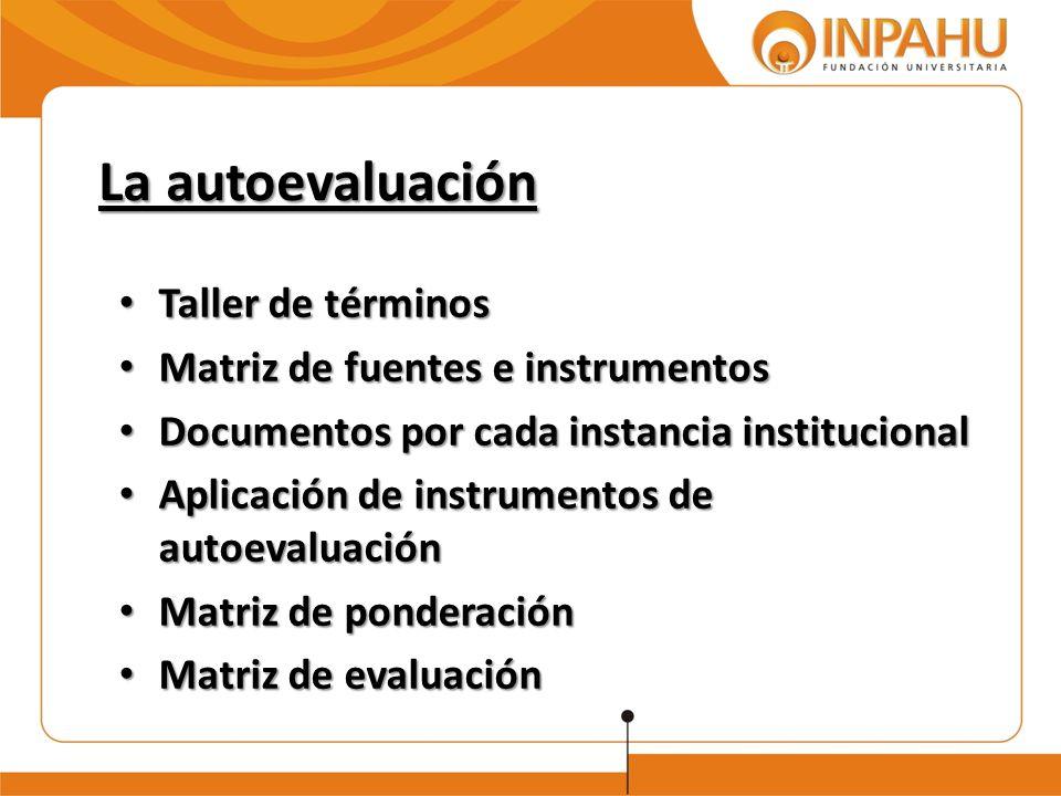 La autoevaluación Taller de términos Taller de términos Matriz de fuentes e instrumentos Matriz de fuentes e instrumentos Documentos por cada instanci
