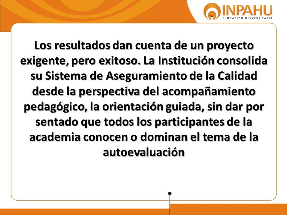 Los resultados dan cuenta de un proyecto exigente, pero exitoso. La Institución consolida su Sistema de Aseguramiento de la Calidad desde la perspecti