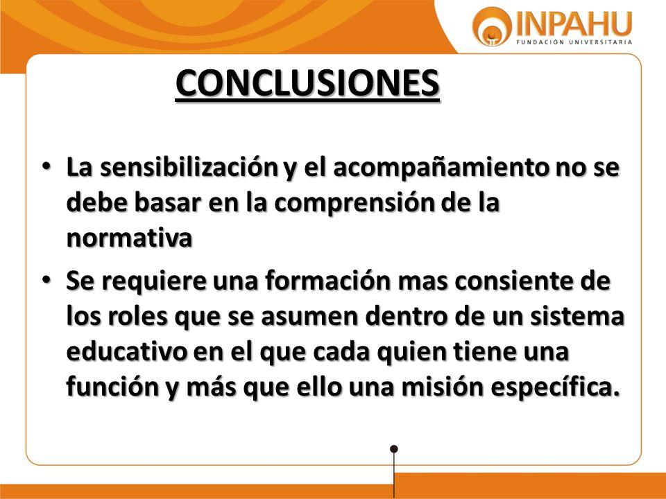 CONCLUSIONES La sensibilización y el acompañamiento no se debe basar en la comprensión de la normativa La sensibilización y el acompañamiento no se de