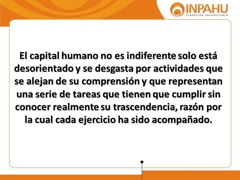 El capital humano no es indiferente solo está desorientado y se desgasta por actividades que se alejan de su comprensión y que representan una serie d