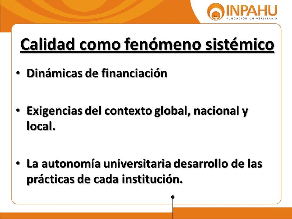 Calidad como fenómeno sistémico Dinámicas de financiación Dinámicas de financiación Exigencias del contexto global, nacional y local. Exigencias del c