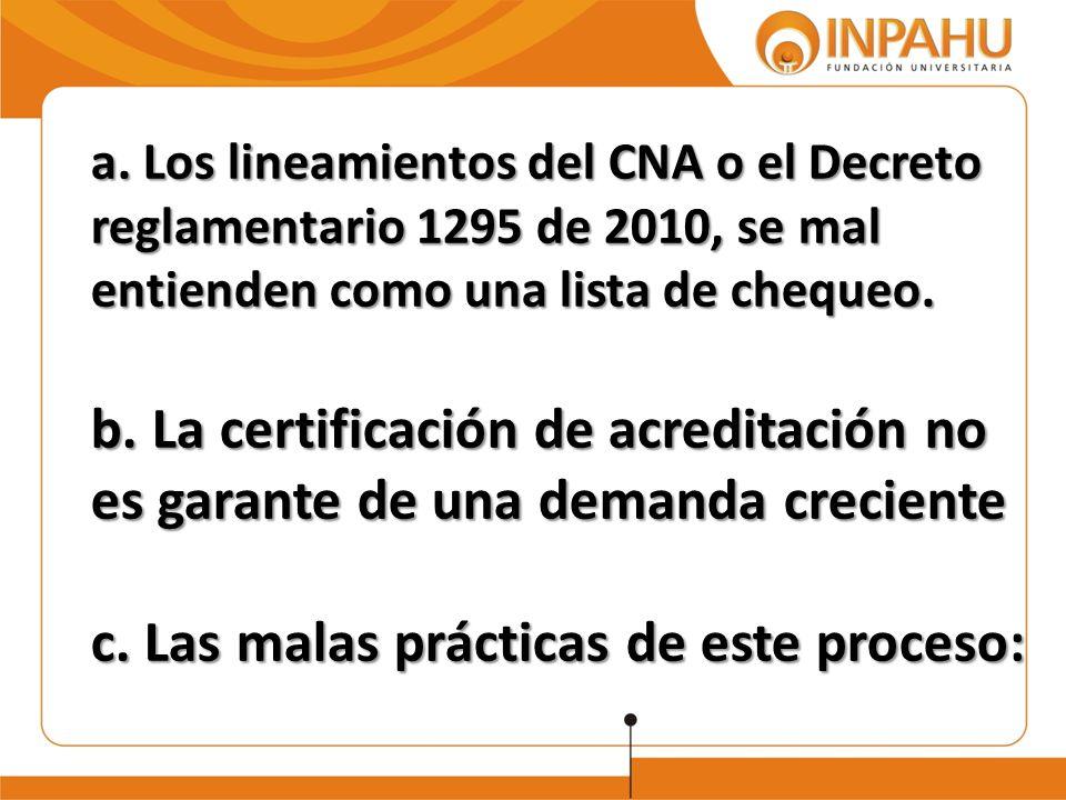 a. Los lineamientos del CNA o el Decreto reglamentario 1295 de 2010, se mal entienden como una lista de chequeo. b. La certificación de acreditación n