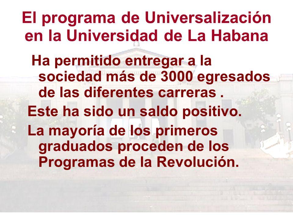 El programa de Universalización en la Universidad de La Habana Ha permitido entregar a la sociedad más de 3000 egresados de las diferentes carreras.