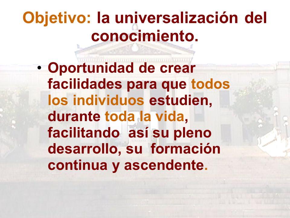 Objetivo: la universalización del conocimiento.