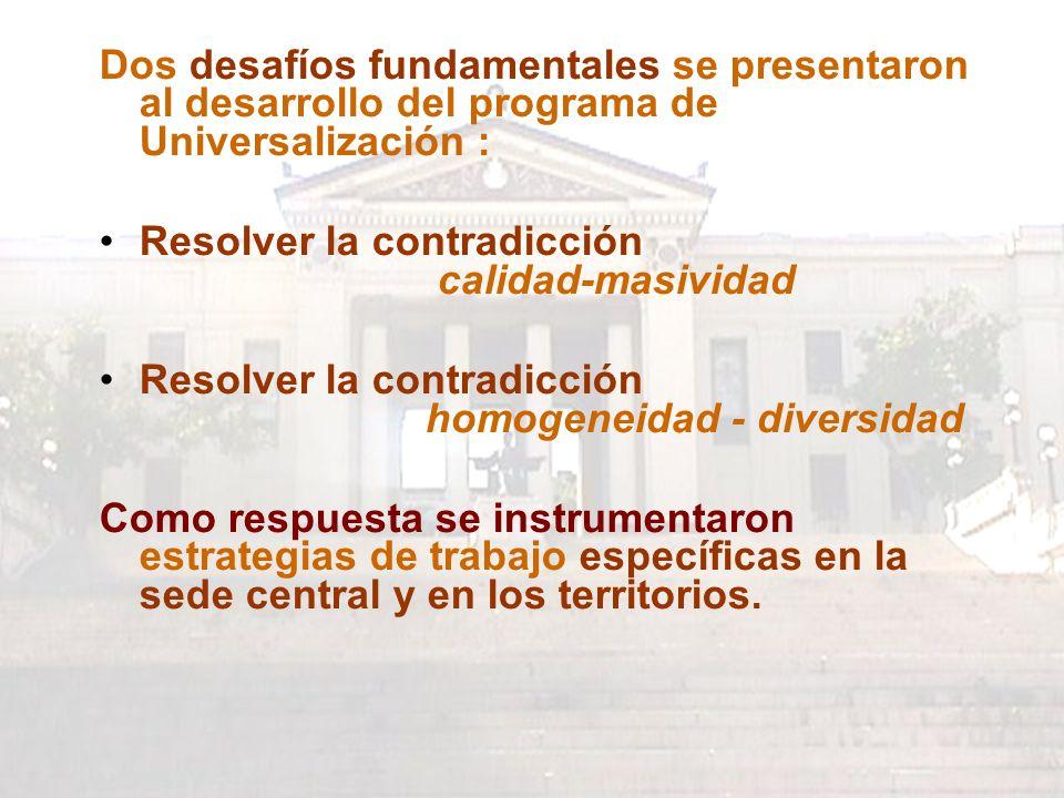 Dos desafíos fundamentales se presentaron al desarrollo del programa de Universalización : Resolver la contradicción calidad-masividad Resolver la contradicción homogeneidad - diversidad Como respuesta se instrumentaron estrategias de trabajo específicas en la sede central y en los territorios.