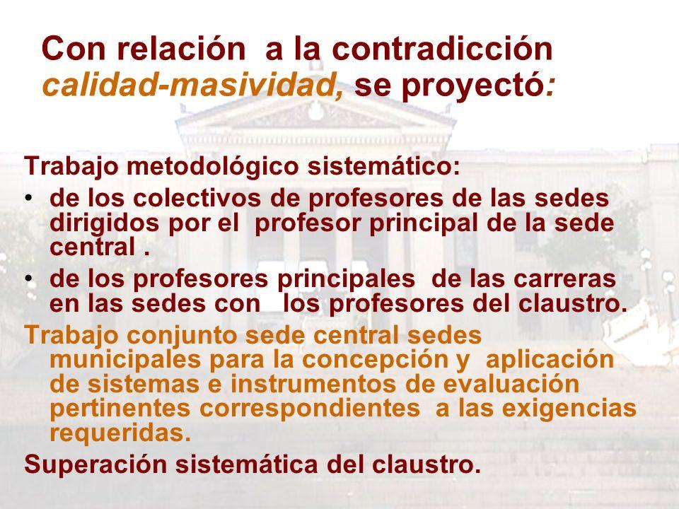 Con relación a la contradicción calidad-masividad, se proyectó: Trabajo metodológico sistemático: de los colectivos de profesores de las sedes dirigidos por el profesor principal de la sede central.