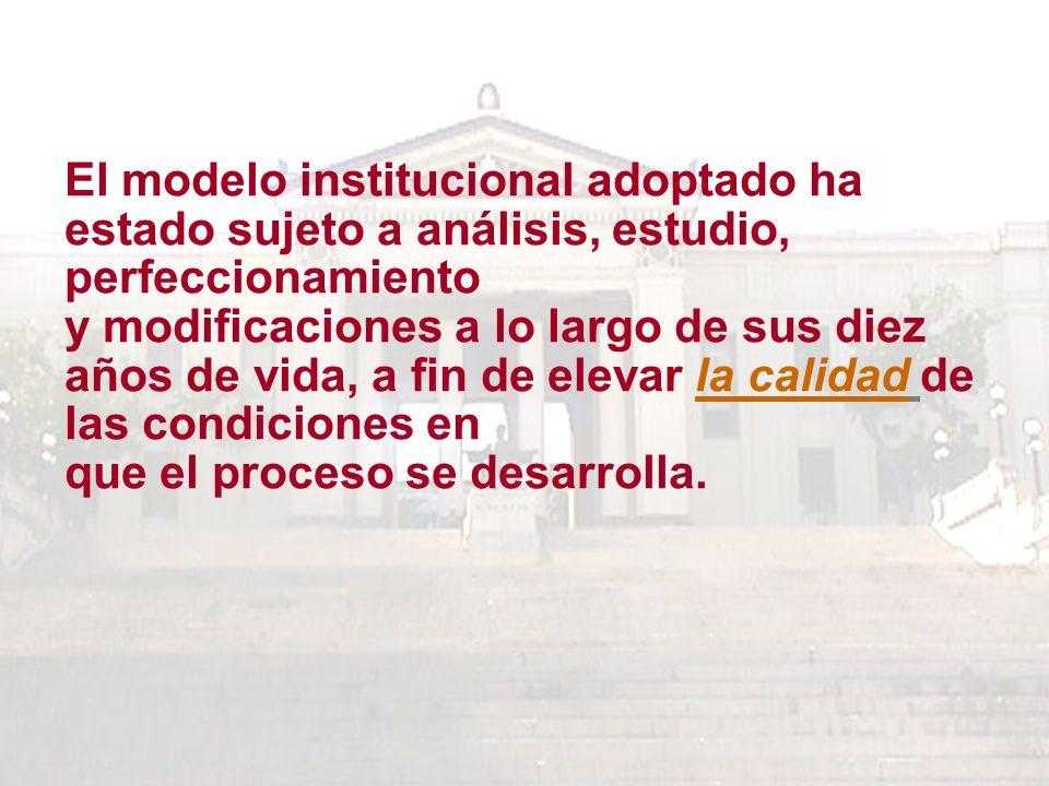 El modelo institucional adoptado ha estado sujeto a análisis, estudio, perfeccionamiento y modificaciones a lo largo de sus diez años de vida, a fin de elevar la calidad de las condiciones en que el proceso se desarrolla.
