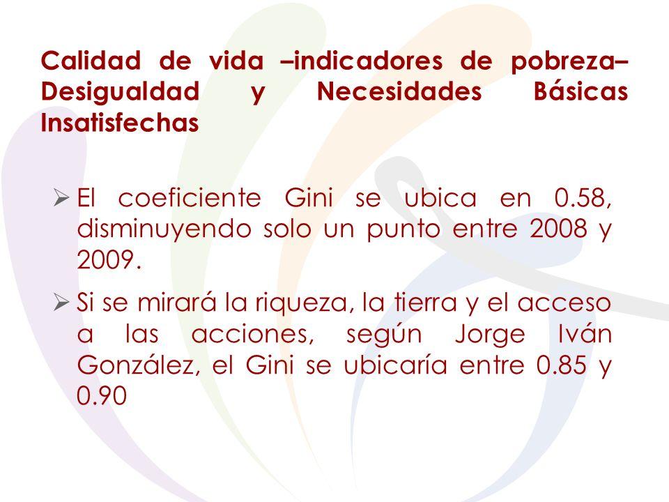 Calidad de vida –indicadores de pobreza– Desigualdad y Necesidades Básicas Insatisfechas El coeficiente Gini se ubica en 0.58, disminuyendo solo un punto entre 2008 y 2009.