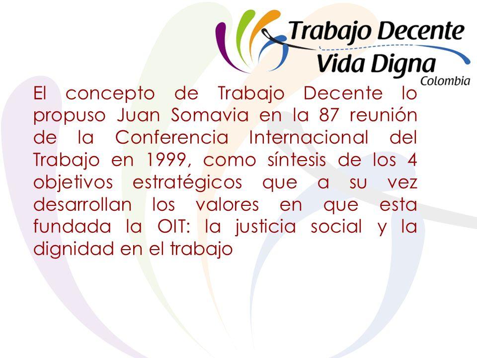 El concepto de Trabajo Decente lo propuso Juan Somavia en la 87 reunión de la Conferencia Internacional del Trabajo en 1999, como síntesis de los 4 objetivos estratégicos que a su vez desarrollan los valores en que esta fundada la OIT: la justicia social y la dignidad en el trabajo