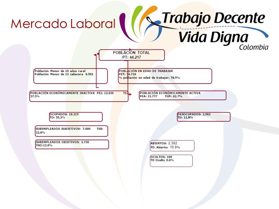Mercado Laboral POBLACIÓN TOTAL PT: 44.217 OCULTOS: 199 TD Oculto 0.9% ABIERTOS: 2.362 TD.