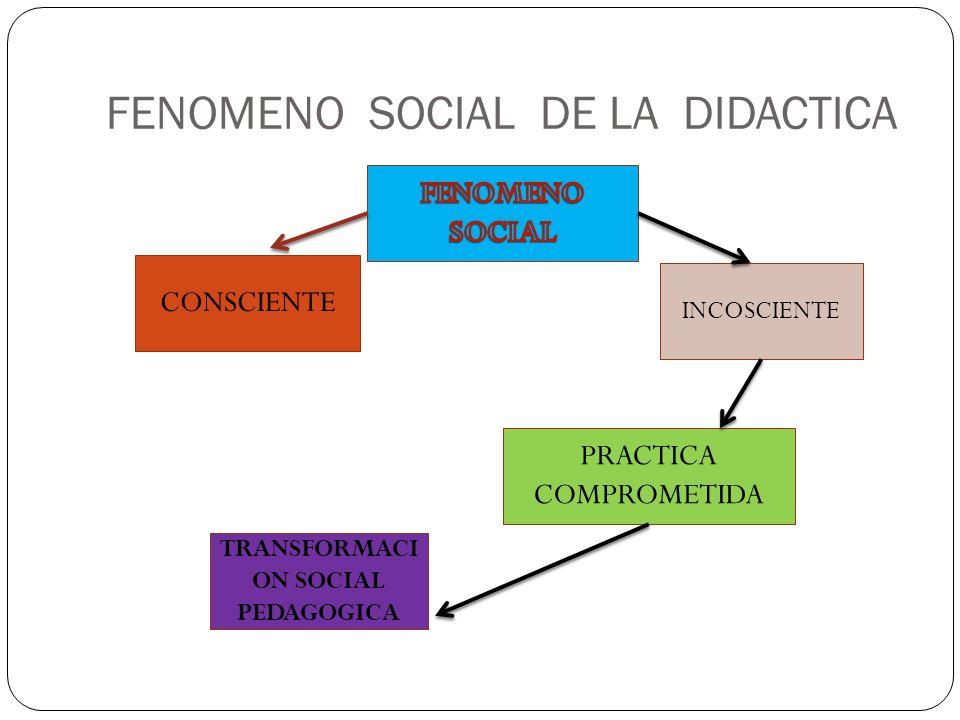 FENOMENO SOCIAL DE LA DIDACTICA CONSCIENTE INCOSCIENTE PRACTICA COMPROMETIDA TRANSFORMACI ON SOCIAL PEDAGOGICA