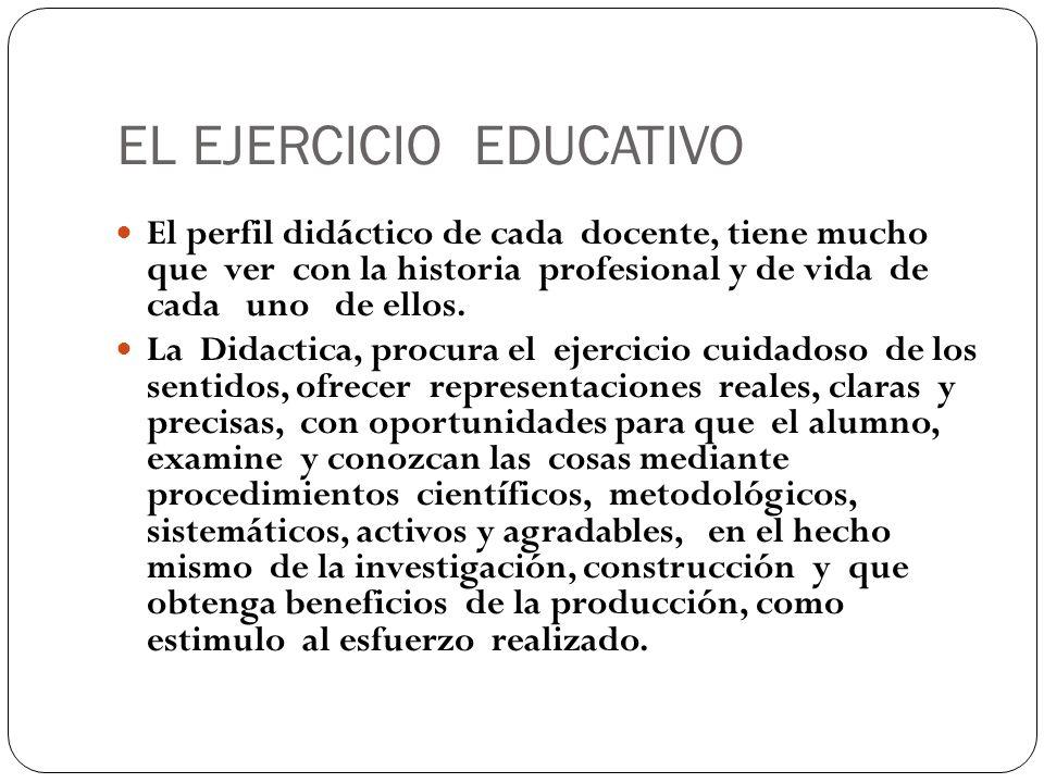 EL EJERCICIO EDUCATIVO El perfil didáctico de cada docente, tiene mucho que ver con la historia profesional y de vida de cada uno de ellos. La Didacti