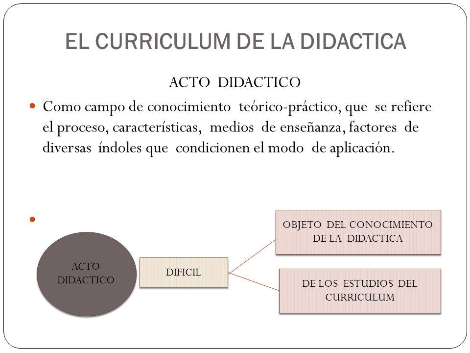 EL CURRICULUM DE LA DIDACTICA ACTO DIDACTICO Como campo de conocimiento teórico-práctico, que se refiere el proceso, características, medios de enseña