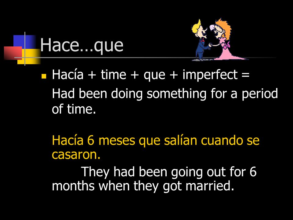Hace…que Hacía + time + que + imperfect = Had been doing something for a period of time.