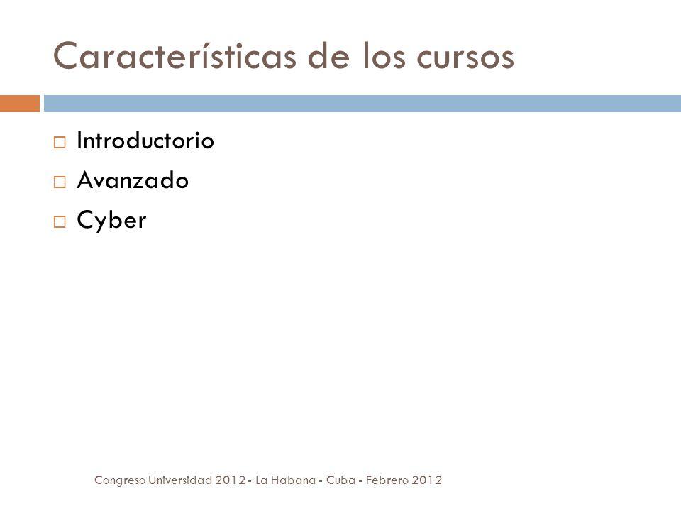 Características de los cursos Introductorio Avanzado Cyber Congreso Universidad 2012 - La Habana - Cuba - Febrero 2012