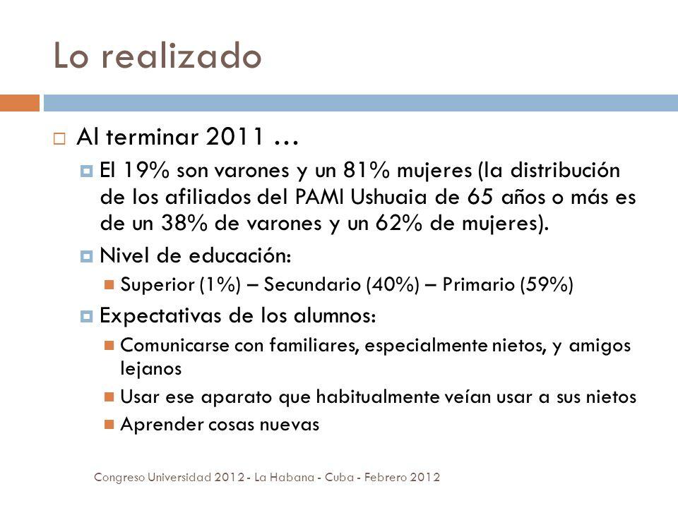 Lo realizado Al terminar 2011 … El 19% son varones y un 81% mujeres (la distribución de los afiliados del PAMI Ushuaia de 65 años o más es de un 38% de varones y un 62% de mujeres).