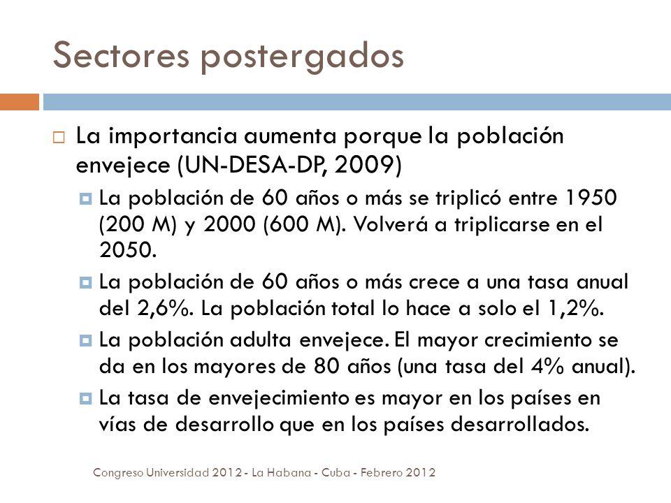 Sectores postergados La importancia aumenta porque la población envejece (UN-DESA-DP, 2009) La población de 60 años o más se triplicó entre 1950 (200 M) y 2000 (600 M).