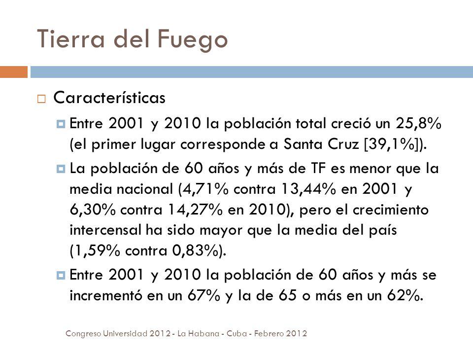 Tierra del Fuego Congreso Universidad 2012 - La Habana - Cuba - Febrero 2012 Características Entre 2001 y 2010 la población total creció un 25,8% (el primer lugar corresponde a Santa Cruz [39,1%]).