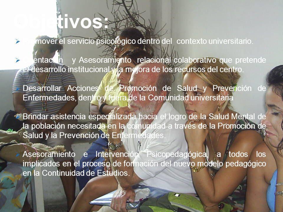 Objetivos: Promover el servicio psicológico dentro del contexto universitario. Orientación y Asesoramiento relacional colaborativo que pretende el des